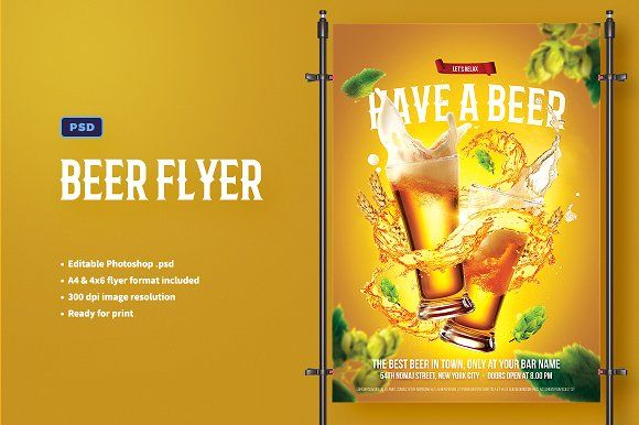 Beer Flyer Template by Bornx on @creativemarket #flyer #poster #template #adobe #photoshop #advertising #ads #digital #imaging #graphic #design #designer #photoretouching #creative #digitalimaging #retouching #beer #advertisements