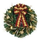 36 in. LED Pre-Lit Valenzia Artificial Christmas Wreath with Red and Gold Ribbon, 50 LED White Lights Battery Operated, Golden