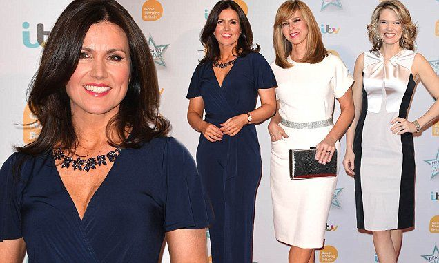The presenter looked super chic in a navy jumpsuit while her GMB co-stars Kate Garraway and Charlotte Hawkins wowed in white for the ITV show's Health Star Awards at the London Hilton.