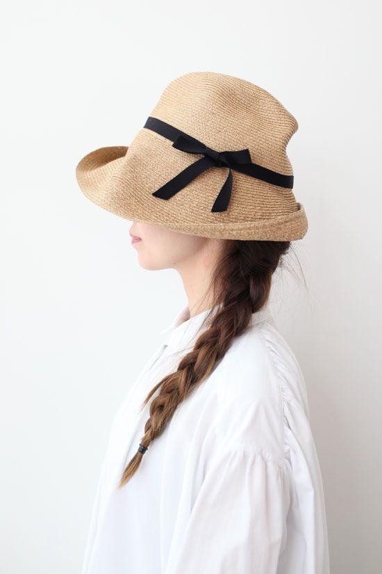 画像1: 【再入荷予約】BOXED HAT -11cm brim grosgrain ribbon-(BK)
