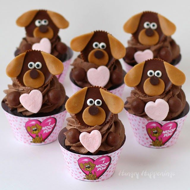 "Say ""I Woof You"" with these adorable Puppy Dog Cupcakes this Valentine's Day. Check out HungryHappenings.com for the instructions."