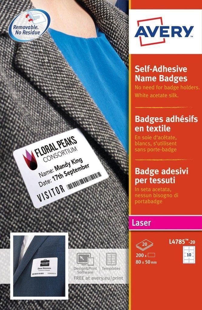Self Adhesive Name Badges L4785 20 Name Badge Template Name Tag Templates Label Templates