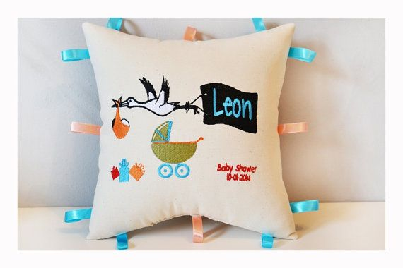 Baby Shower gift Baby pillow  Embroidered birth by KoTshop on Etsy, $45.00
