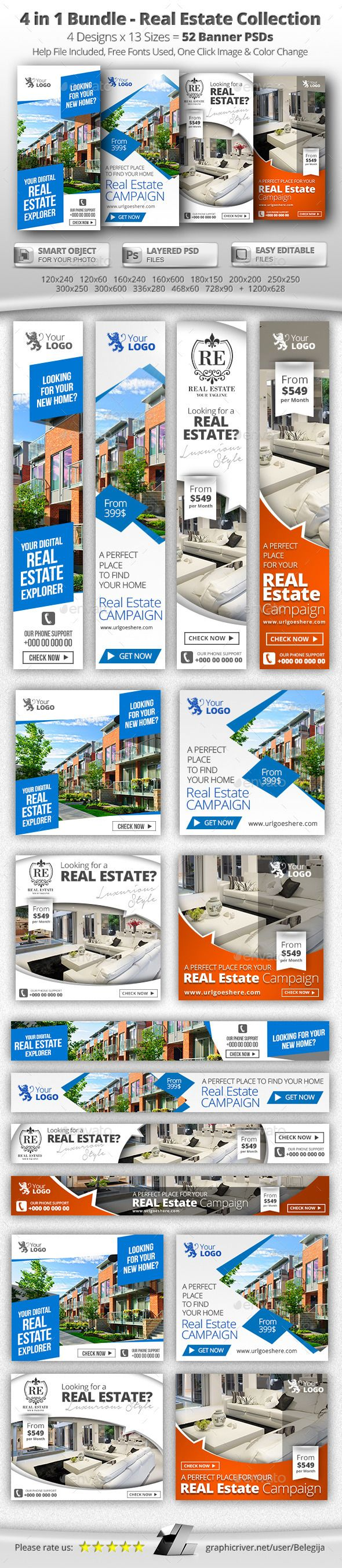 52 Real Estate Web & FB Banners - 4 in 1 Bundle Template #design #web Download: http://graphicriver.net/item/52-real-estate-web-fb-banners-4-in-1-bundle/11947695?ref=ksioks