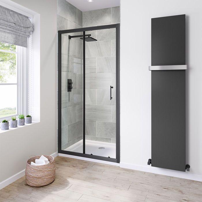 1000mm 6mm Black Frame Sliding Shower Door Black Shower Doors