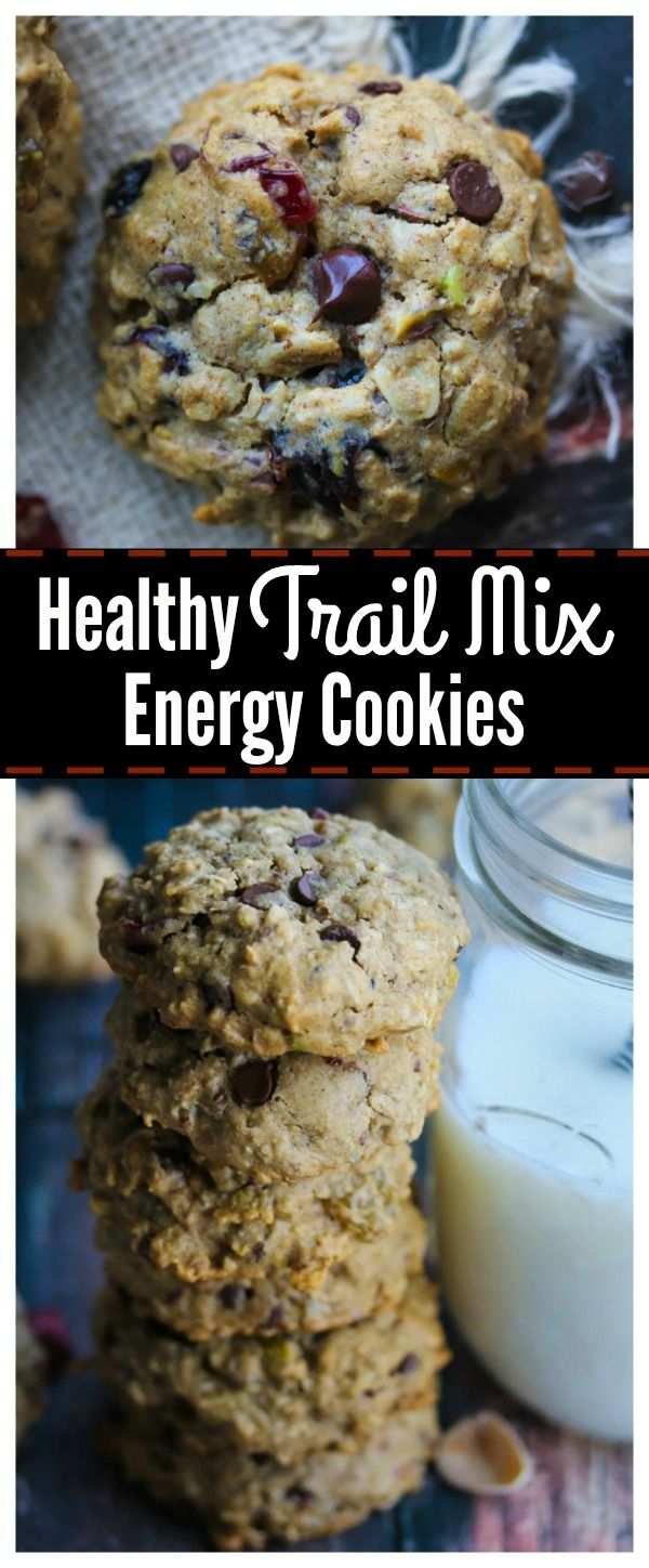 Trail Mix Energy Cookies made with wholesome ingredients and no refined sugar. Perfect for school or work day snacks! | dishingouthealth.com