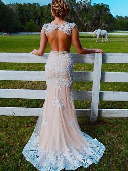 Trumpet/Mermaid Scoop Neck Tulle Sweep Train Appliques Lace Champagne Open Back Pretty Prom Dresses