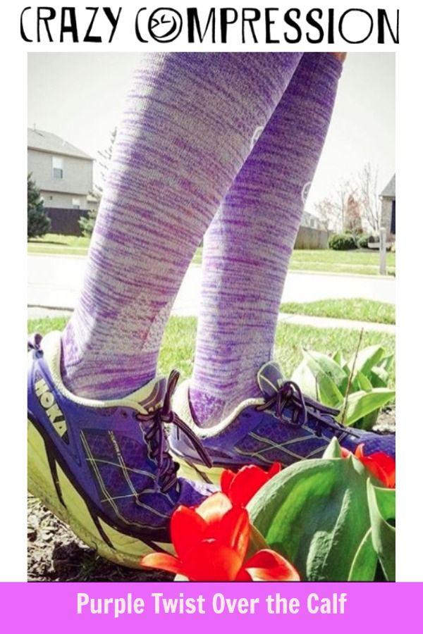ce611c3dd3 Purple Twist Over the Calf Compression Socks #CrazyCompression # compressionsocks