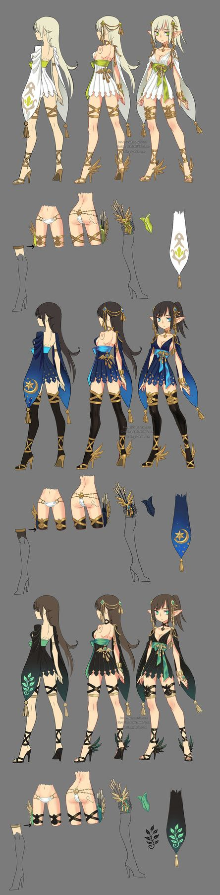 this is the myth theme costume i designed for the archer class of MMO game Dragon Nest in 2014. =) the academic class fav.me/d9inw00