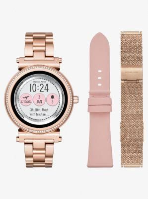 b9ed5a9c8475 The Michael Kors Access Sofie smartwatch combines modern glamour with  next-generation technology. Featuring a full round display with new  technology for ...