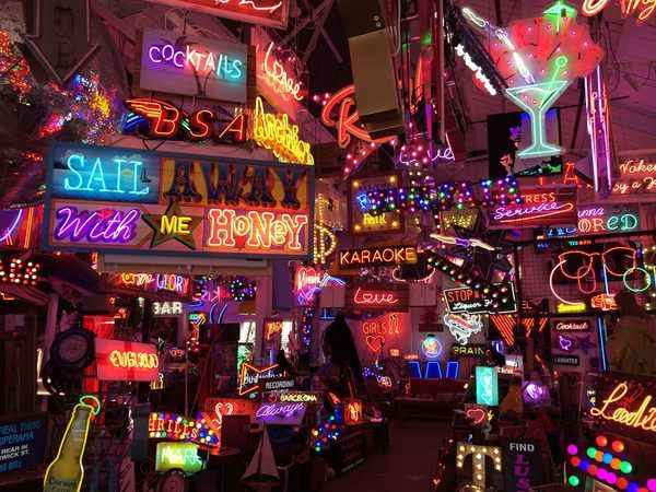 God's Own Junkyard is curated by a third-generation neon artisan. This London location is the home of thousands of handmade neon signs and other products.