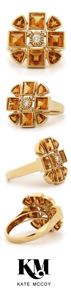 Eau de Vie Ring by Kate McCoy   made from 18kt yellow gold diamonds and citrine. #JewelryCollection #GiftIdeas #Heirloom #Celebration #Family