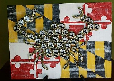 Maryland Bottle Cap Art, 12x16, Natty Boh recycled caps, handpainted MD flag