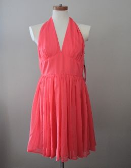 NWT SIZE 10 BB DAKOTA Bright Spring tangerine dress. Chiffon fit-and-flare halter dress featuring deep V-neckline, banded waist, and concealed zipper closure at back. Flirtatious halter silhouette and ruching accents at the waist and cups...  Price: $42.00