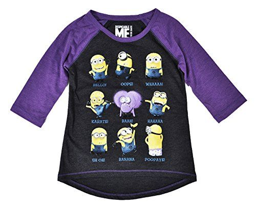 Despicable Me Girls Minion Talk Raglan (X-Small) @ niftywarehouse.com