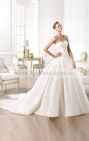 Ball Gown Sleeveless Strapless Buttons Floor-length Wedding Dresses fcaf1035--Hodress