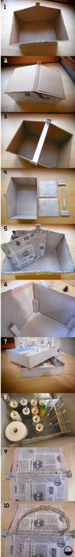 Tutorial de un costurero a partir de una caja de cartón, por Baskiuts. Disponible también en el blog de baskiuts.wordpress.com.