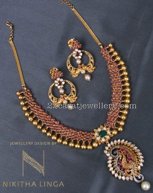 Ruby Necklace Chandbalis by Nikitha Linga