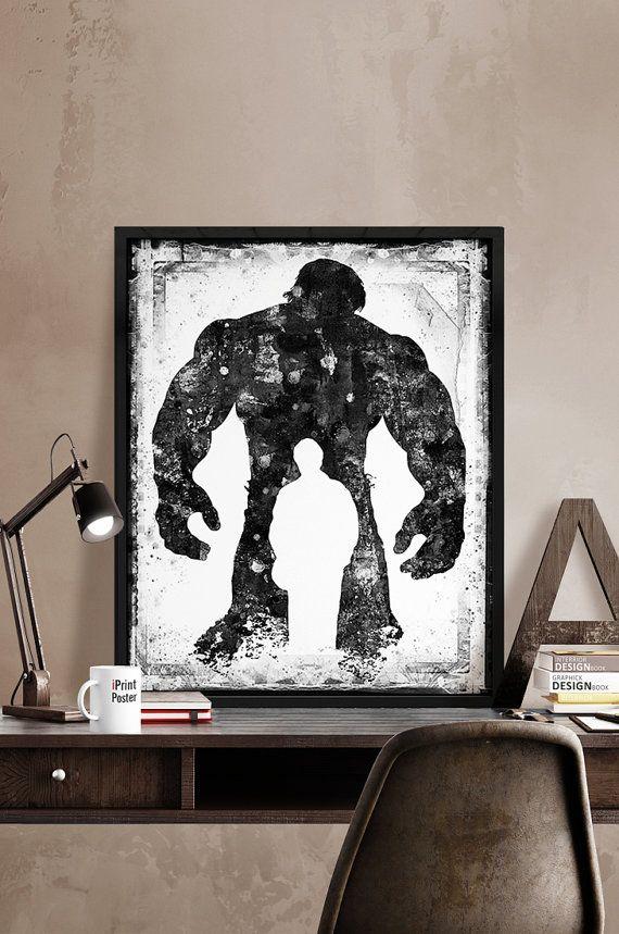 Hulk print black & white Superhero poster Marvel by iPrintPoster