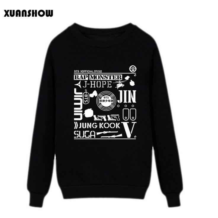 2017 New Women Sweatshirts Hip Hop BTS  Bangtan Boys Fans Clothing Women Pullovers Hoodies