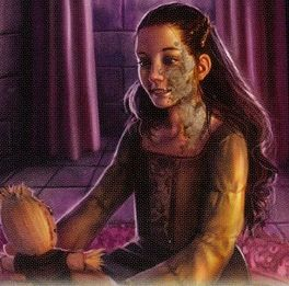 Shireen Baratheon is the daughter and only child of Lord Stannis Baratheon and Lady Selyse Florent. Shireen is regarded as a sweet child, but she is not considered very pretty. She has blue eyes, but inherited both her father's square, jutting jaw and her mother's large ears. The greyscale caused half of her left cheek and most of her neck to be covered in gray and black dead skin. She is nine years old.