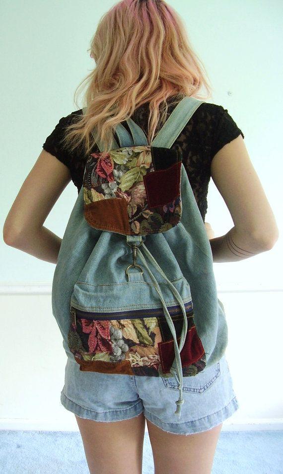 Denim and Patchwork Backpack Vintage