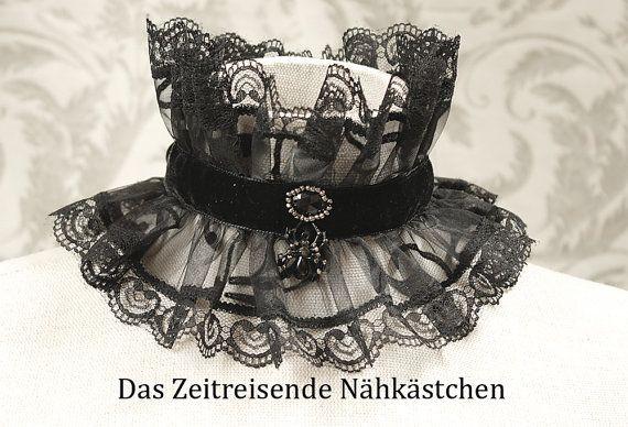 Filigranes Spitzenhalsband Schwarze Witwe von TimeTravelingTailor