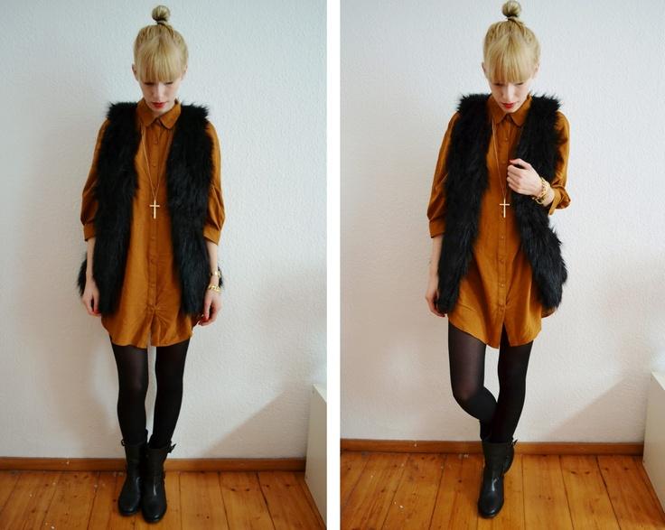 Bonjour Modemoiselle: Outfit: Hemdkleid und Fellweste