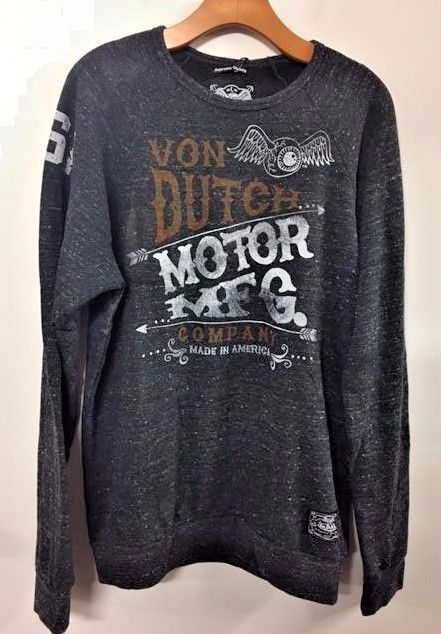 NWT Von Dutch Men's  Sweatshirt Gray Charcoal Eye Wings 1929 Flying Eyeball M-3X #VonDutch #Hoodie