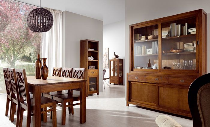 Mesa, sillas, vitrinas y librerías en roble, ideal para ...
