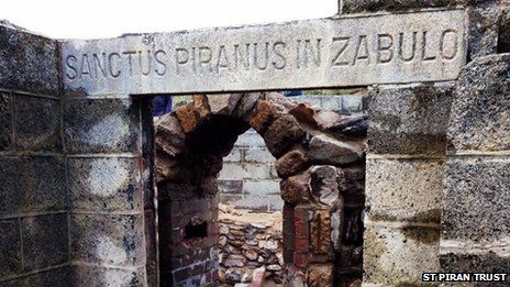 The inscribed lintel at St Piran's Oratory. The remains of St Piran's Oratory - buried at Penhale Sands, near Perranporth - are believed to be among the oldest places of Christian worship in Britain. The Oratory was unearthed in November 2014 for the first time since 1910.