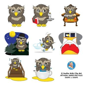 These clip art can be used for learning material in conjunction with the book Owl at Home.8 Full Color images with 8 black and white versions included.Please contact me if you have any queries or suggestions.Surfer Kids Clip Art is created by Pieter Els.