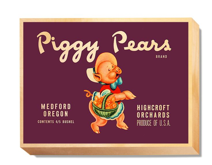 LAB 012 Crate Label Piggy Pears