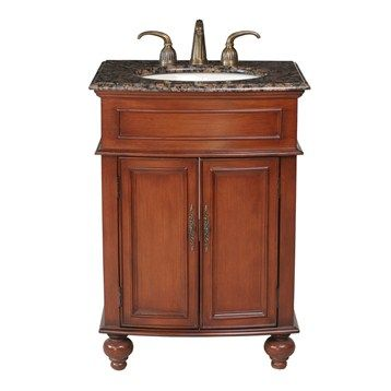 "Stufurhome 26"" Prince Single Sink Vanity with Baltic Brown Granite Top - Cherry Red"