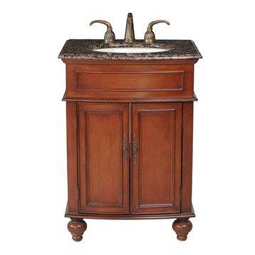 """Stufurhome 26"""" Prince Single Sink Vanity with Baltic Brown Granite Top - Cherry Red"""