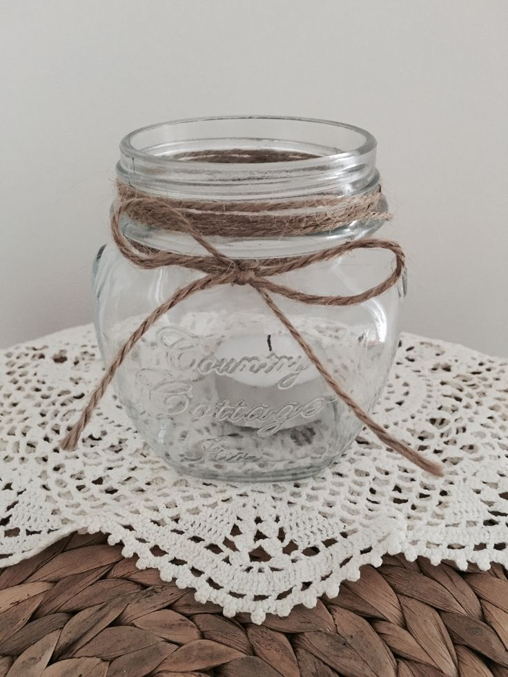 Cute mason jar with twine wrapped around the top. Simple and easy to make! Made by Chrissy x Sassy Creative Design