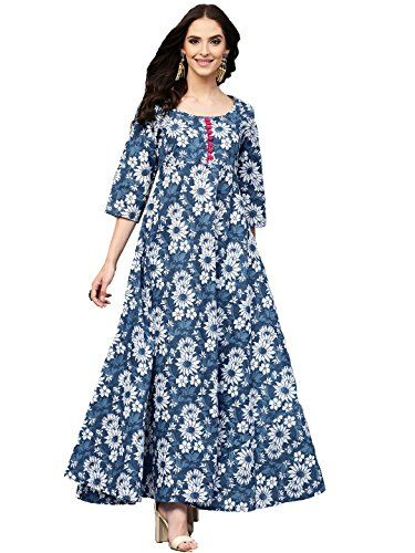 07217dd32e2e85 Amayra blue floral printed long length anarkali Cotton kurti for womens
