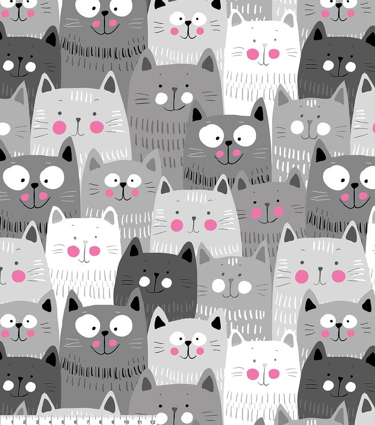 Pin By Storytelling On Happy Fabric: Anti-Pill Fleece Fabric -Happy Gray Cats In 2019