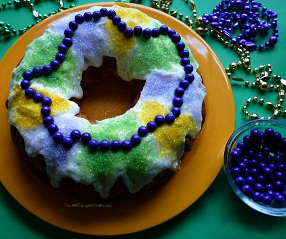 Easy King Cake with Candy Beads
