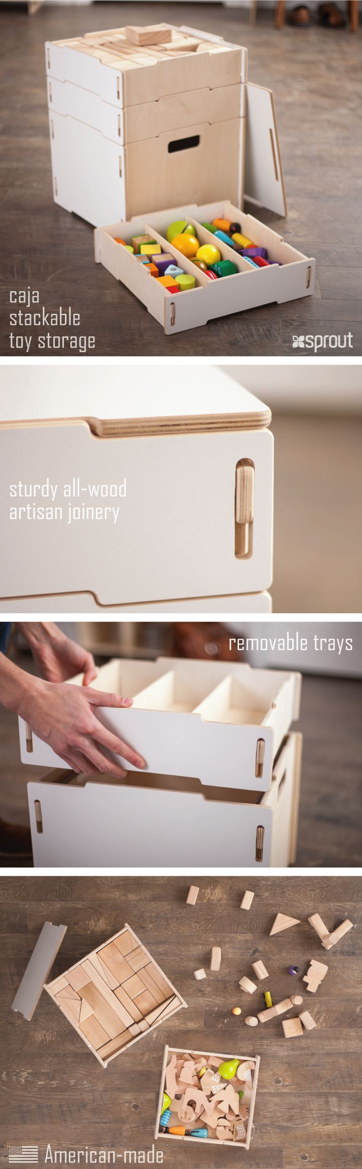 Great kid storage solutions. Kids love keeping their things in these wooden storage bins with lids, and parents love the easy organization and cleanup.   Learn more about the wooden storage boxes at Sprout.