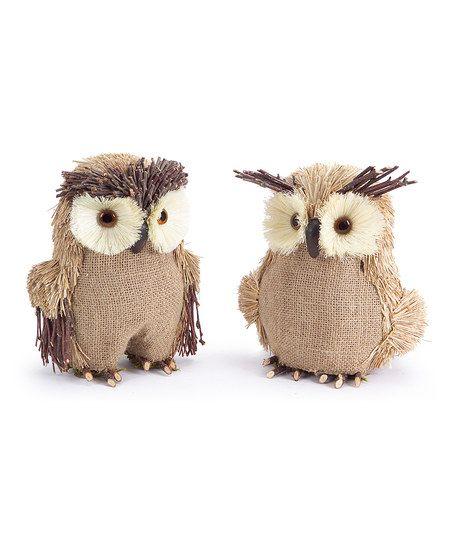 Burlap Owl Figurine Set
