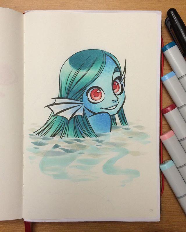A more fishy mermaid. #mermay art by Chihiro Howe