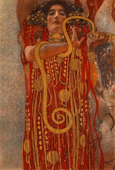 Klimt  This painting, i believe, has a pattern in the dress. I see a vivid pattern scheme in the colors and the direction the lines seem to flow.