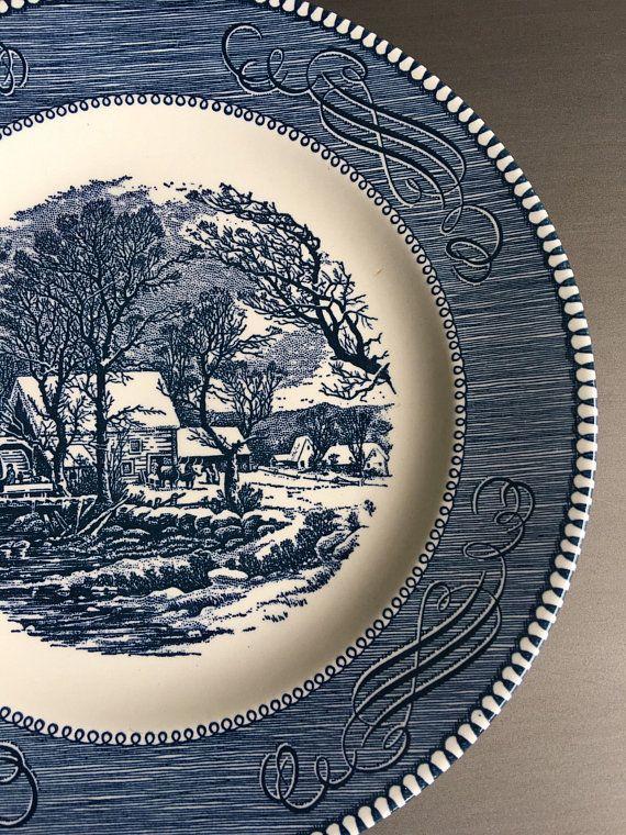 10 Vegetable Bowl Royal China Currier /& Ives Large Serving
