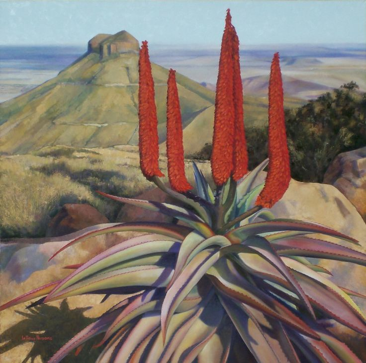 This piece is large (120cm x 120cm) and was commissioned by local residents. It took 7 weeks to do, and was quite a challenge. The plant is Aloe Ferox, and the mountain is Spandaukop, a local landmark.  SOLD