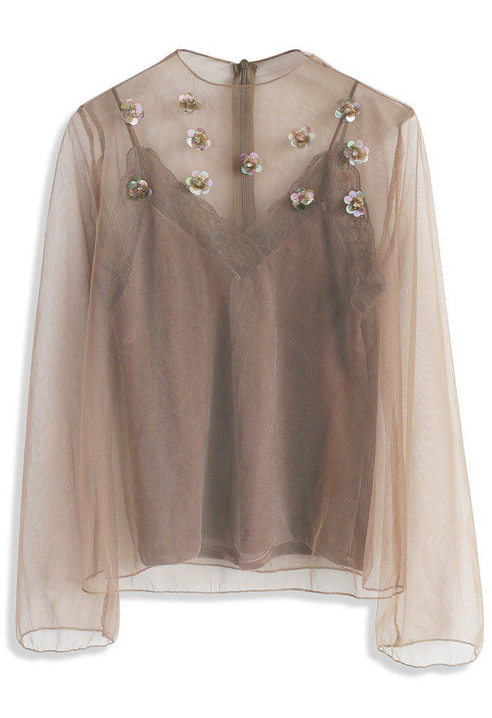 Sequin Blossom Mesh Top in Caramel - New Arrivals - Retro, Indie and Unique Fashion