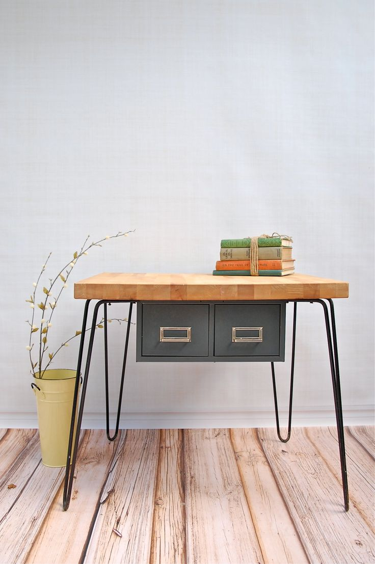 Butcher Block Counter From IKEA Hairpin Legs Vintage File Box Cute Table