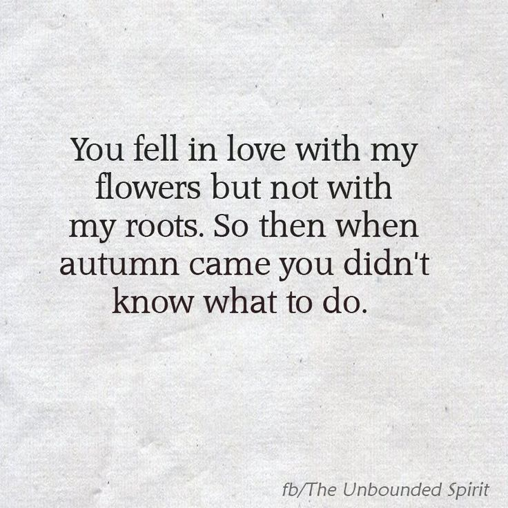 You fell in love with my flowers but not with my roots. So then when autumn came you didn't know what to do.