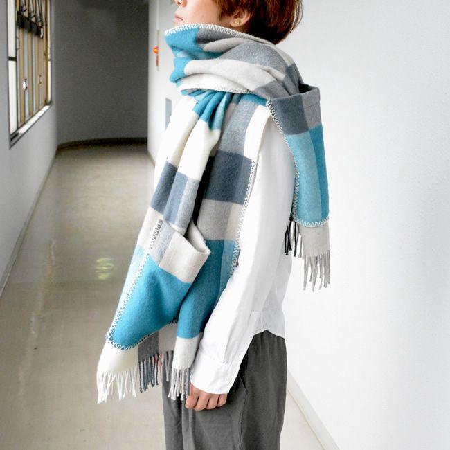Lapuan Kankurit ラプアン カンクリ ウール ポケット付きショール (60×170cm/PALAPELI/tuequoise)   北欧雑貨 北欧デザインに限定した北欧雑貨通販サイト
