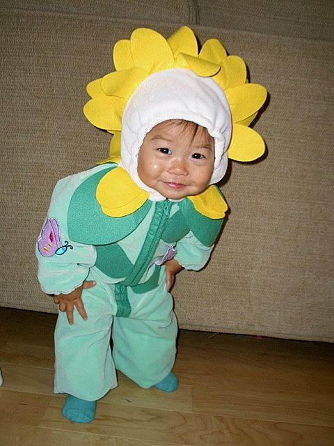 Green and yellow sunflower Halloween costume toddler child adorable jumpsuit for children dressing up